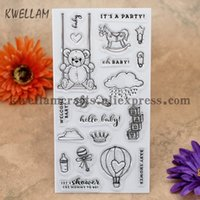 Wholesale Baby Welcome - Wholesale- WELCOME BABY BABY SHOWER Bear Scrapbook DIY photo cards account rubber stamp clear stamp transparent stamp 10x20cm KW7011312