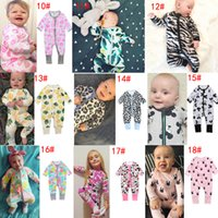 Wholesale Infant Long Sleeve Striped Romper - 26 Styles New INS Baby Boys Girls Striped Zipper Romper Toddler Floral Dot Jumpsuits Infant Cotton Long Sleeve Suits Spring Kids Outfits
