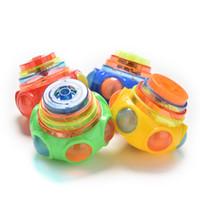 piscar beyblade venda por atacado-Atacado-Especial Flash Gyro Colorido Luz Peg-Top Manual LED Beyblade Music Toy Crianças