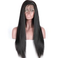Wholesale Extra Long Straight Black Hair - Best quality natural black virgin brazilian human hair extra long 30inch front lace wigs fast delivery
