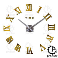 Wholesale Self Adhesive Wall Time - Wholesale- Time Letters Roman Digital Wall Clock Modern DIY Self Adhesive Quartz Wall Clock Home Decor