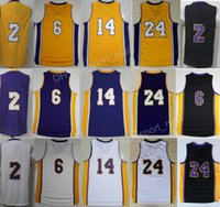 Wholesale Blue Balls Xl - 2017 New Men 2 Lonzo Ball Jersey 6 Jordan Clarkson Basketball Jerseys Kobe Bryant 24 Brandon Ingram 14 Man Purple Black White Yellow
