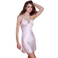 Wholesale Hot Girl Nightwear - young girl sexy nightgown with bow women's sleepwear nightdress silk satin sleeveless summer padded MINI nightwear hot home wear