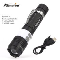 Wholesale Usb Zoom - AloneFire X190 COB USB LED Flashlight 18650 Zoom Torch Waterproof Flashlights XM-L T6 3800LM 3 Mode Led Zoomable Light for Hunting Camping