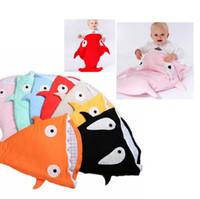 Wholesale Kids Sleep Sack - Kids ins shark sleeping bag Newborns quilt Winter Strollers Bed Swaddle Blanket Wrap Bedding baby Nursery Bedding Sleep Sack KKA2187