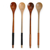 Wholesale Cutlery Wholesale Wooden Handles - Retro Long Handle Wood Spoon Coffee Tea Cooking Dining Utensil Cutlery Wooden TOP1718