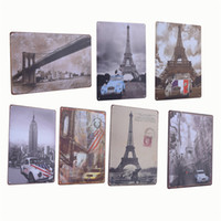 Wholesale Vintage Metal Tin Sign Buildings And Car Retro Plaque Poster Bar Pub Club Wall Tavern Garage Home Decor Style
