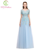A-Line short fromal dresses - SSYFashion Summer New Blue Evening Dress The Bride Banquet Elegant Lace Flower Long Prom Fromal Dress Custom Party Gowns