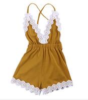 jumpsuit jaune bébé achat en gros de-Ins bébé fille combinaison v-cou dentelle tricot barboteuse spaghetti sangle dos croix jaune vêtements pour bébé 2019 Hotsale 0-24 mois