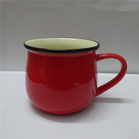Wholesale red color exprossed coffee cup western style ceramic colorful mug for gift