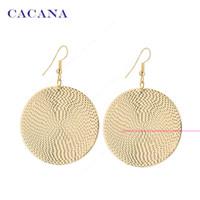 Wholesale Bijouterie Earrings - CACANA Gold Plated Dangle Long Earrings For Women Wholesale Big Round Fashion Bijouterie Hot Sale No.A191 A192