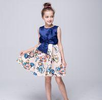 Wholesale Dress Girls New D - New Girl Embroidered Bow Printed Sleeveless Dress Princess Fashion Holiday Must-Have Bitter Feabane Bitter Fleabane Skirt