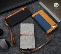 Wholesale Linen Iphone Case - Luxury Sling Leather Case With Card Holder Linen PU Leather Phone Case Cover For Apple iPhone 7 7plus