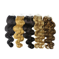 Wholesale Micro Wave Hair Extensions - 2017 first hand quality 24 Inch Natural Hair Extensions body wave 1 g piece Micro Loop Hair Extension