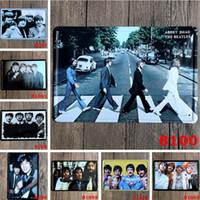 bant kalay toptan satış-Kalay Boyama Işareti Beatles Vintage Kalay Posteri Müzik Grubu Şarkıcı Yıldız Metal Beatlemania Demir Boya Yıldız Duvarları Dekoratif Bar İşaretler Bira