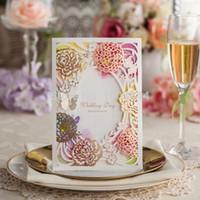 Wholesale Garden Invitations - Wholesale- New Arrival Garden Styling Laser Cut Rose Wedding Invitation Card Design CW065