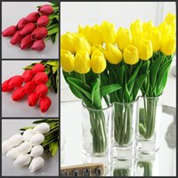Wholesale White Real Touch Tulips - 50 pcs lot Tulip Artificial Flower PU Artificial bouquet Real touch flowers For Home Wedding decoratiom Supplies