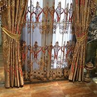 Wholesale Print Blackout Curtains - Luxury Living Room Bedroom Curtain Blackout Window Curtains Embroidered Beautiful Printing Pattern Curtain Wholesale Per Meter #Gauze