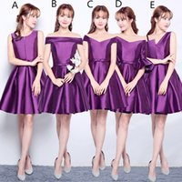 Wholesale Navy Satin Ball Gown - Pleated Short Satin Bridesmaid Dress Purple 2018 Knee Length Wedding Party Dress Lace Up Custom Made Free