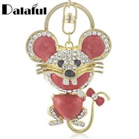 Wholesale Mouse Cross - beijia Red Heart Mouse Bowknot Tail Crystal Bag Pendant Keyrings Keychains For Car key chains holder for women K174