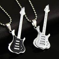 Wholesale Titanium Necklace For Fashion - Fashion 4 Colors Cool Guitar Pendant Necklace Titanium steel Music Guitar Necklace Fine Jewelry For music fans Wholesale