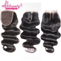 Wholesale 7A Brazilian Virgin Hair Lace Closure x4 Brazilian Human Hair Closure With Bleached Knot baby Hair