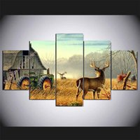 Wholesale One Piece Canvas Oil Paintings - Whitetail Animal Deer,5 Pieces Home Decor HD Printed Modern Art Painting on Canvas (Unframed Framed)
