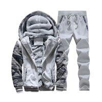Wholesale Male Camouflage Pants - Wholesale-2016 Winter Men's Casual Hoodie Pants Suit Male Camouflage Printed Hooded Jacket Sport Mens Hoodies and Sweatshirt+Pants 4XL