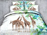 Wholesale Giraffe Comforters - New Five Striped Giraffe 3D Printed Bedding Set Twin Full Queen King Size Dovet Cover Set Pillow Shams Comforter Bedspreads Green Bed Linens