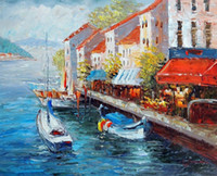 Wholesale Oil Paintings Ship Lake - Framed Lake Como Italy Shore Shops Boats Homes,Pure Hand-painted Art Oil painting On Thick Canvas,Multi size Available Free Shipping J014