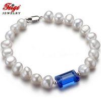 Wholesale Baroque Pearls Bracelets - Feige Promotion Price 7-8mm Black Baroque Freshwater Pearl Bracelet Handmade Bead Vintage Gift Women Pearl Jewelry Bracelet