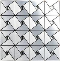 Wholesale metal backsplash tile - Aluminium-plastic mirror glass mosaic wall tiles,12''x12'' Metal mosaic tile sticker,Kitchen backsplash home mosaic decor wall tile,LSLCB02