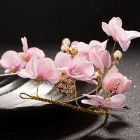 cages à oiseaux pour les mariages achat en gros de-CHENLVXIE Vintage Chapeaux De Mariée 2017 Rose Fleurs Birdcage Voile Pearl Fascinators Pour Mariages Sinamay Sombrero Nupcial WT095