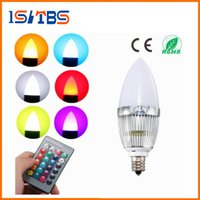 Wholesale E12 3w Cree Led - E12 RGB LED Bulb 3W Flash Color Changing Chandelier Candelabra Candle Light LED Lamp + Remote Controller Lighting AC85-265V