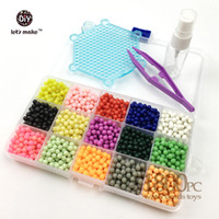 Wholesale Sticky Beads - Wholesale-1800PCS 15Colour Water sticky perler beads pegboard set fuse beads jigsaw puzzle Water beadbond educational toys diy kids gift