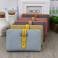 Wholesale Leather Credit Card Belt Buckle - Trendy Buckle Pattern Notecase Short Design PU Leather Wallet Zipper & Hasp Card Holders Coin Purses for Women