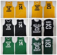 Wholesale Fresh Clothing - OF The Fresh Prince 14 Will Smith Jersey Men BEL-AIR Academy Basketball 25 Carlton Banks Jerseys Clothes (TV Sitcom) Green Yellow Black