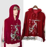 Wholesale Sweatshirt Chinese - Europe Italy Chinese Style Embroidery Velour Pleuche Red Dragon Applique hoodies Jumper Pullover men women fashion Luxury Hooded Sweatshirts