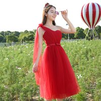 Wholesale Lower Price Bridesmaid Dresses One Shoulder - wine red robe de soiree prettygirl lace vintage tulle teenage bridesmaid dresses for married low price party dress H3809