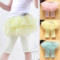 Wholesale Girls Tutu Tights - Children tutu skirt legging Baby Clothing Child Summer Shorts Girls Lace Tights Skinny Pants Fashion Bowknot Princess Leggings Kids Culottes