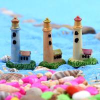 Wholesale Antique Collectible Figurines - 10pcs Lighthouse Statues Figurines Resin Crafts Fairy Garden Miniatures Succulent Bonsai Tools terrarium Toys Micro Landscape Jardin Gnomes