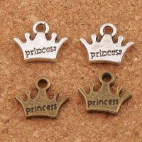 Wholesale Antique Bronze Charms Crown - Princess Crown Spacer Charm Beads 300pcs lot 10.5x13.1mm Antique Silver Bronze Pendants Alloy Handmade Jewelry DIY L029