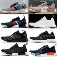 Wholesale 2017 NMD Runner R1 Primeknit Men Womens Running Shoes Triple Black white red Mesh Salmon Talc Cream Olive NMD R1 Boost sports shoes