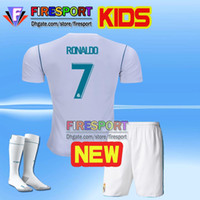 Wholesale Youth Real Madrid Jerseys - 2017 Real madrid Kids soccer Jersey Full Sets Youth Child kit 17 18 RONALDO home camisetas de futbol JAMES BALE football shirt With Socks