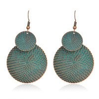 Wholesale Animal Geometry - Geometry Double round Earrings Ancient bronze Metal Big Drop Earrings for women girls Fashion Boho Jewelry for party beach Gift