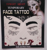 Wholesale Tattooed Stockings - 2017 Fashion Fright Night Temporary Face Tattoo Body Art Chain Transfer Tattoos Temporary Stickers in stock 9 Styles Free shipping