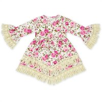 Wholesale Lace Rose Blouse - 2017 INS baby girl kids toddler Summer Spring clothes clothing Long sleeve Lace Tassels fringe dress Rose floral dress blouse tops Ruffles