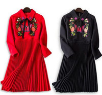 Wholesale Butterfly Lanterns - Free Shipping 2016 Autumn Lapel Neck Mini Dresses A Line Long Sleeve butterfly Embridery Above Knee Solid Women Dresses 63630