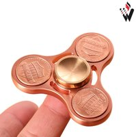Wholesale Copper Desk - High Quality Pure Copper US Dollar Coin Hand Spinner EDC Spinner Funny Anti Stress Toys Fidget Spinner Desk Anti Stress Finger Spinning Toys