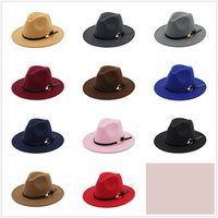Wholesale Khaki Fedora Hat - New Fashion TOP hats for men & women Elegant fashion Solid felt Fedora Hat Band Wide Flat Brim Jazz Hats Stylish Trilby Panama Caps